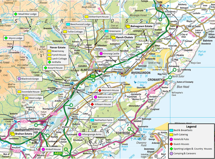 river alness – map of accommodation for visiting anglers